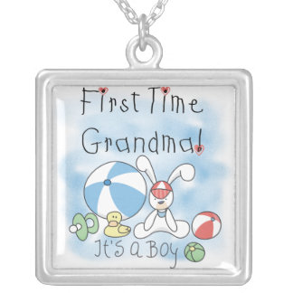 First Time Grandma of Boy Gifts Silver Plated Necklace