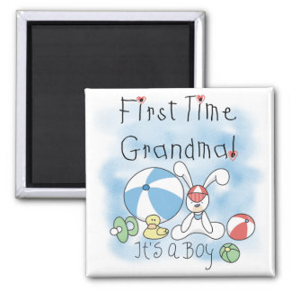 First Time Grandma of Boy Tshirts and Gifts 2 Inch Square Magnet