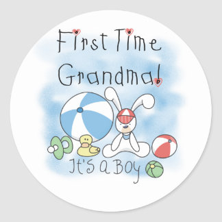 First Time Grandma of Boy Tshirts and Gifts Classic Round Sticker