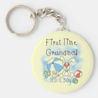 First Time Grandma of Boy Tshirts and Gifts Keychain