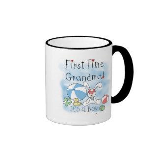 First Time Grandma of Boy Tshirts and Gifts Ringer Coffee Mug