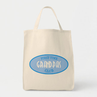 First Time Grandpas Club (Blue) Grocery Tote Bag