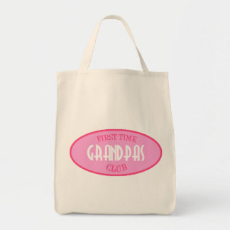 First Time Grandpas Club (Pink) Grocery Tote Bag