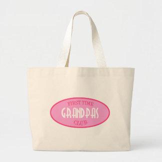 First Time Grandpas Club (Pink) Jumbo Tote Bag