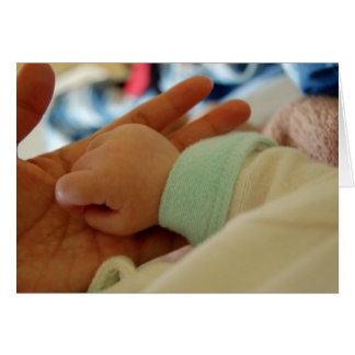 First Time Mom Holding Baby's Hand Greeting Card