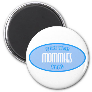 First Time Mommies Club (Blue) 2 Inch Round Magnet