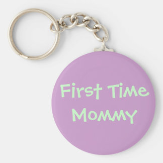 First Time Mommy Basic Round Button Keychain