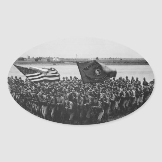 First to Fight - US Marines - 1918 Oval Sticker