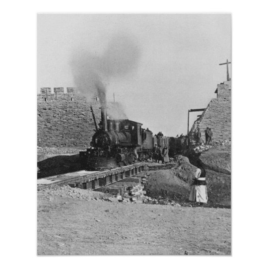 First train passing through the wall of Peking, Ch Poster