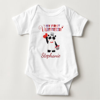 First Valentine Heart Panda Personalized Baby Bodysuit