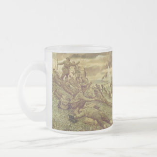 First Wave at Omaha by Ken Riley World War II Frosted Glass Coffee Mug