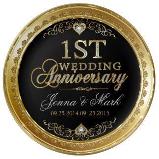 First Wedding Anniversary Gold And Diamonds Dinner Plate