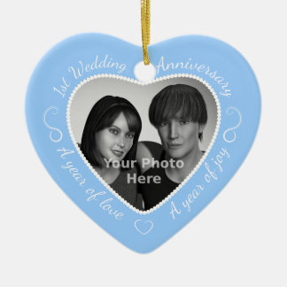 First Wedding Anniversary Photo: Light Blue Ceramic Ornament