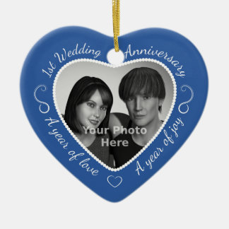 First Wedding Anniversary Photo Double-Sided Heart Ceramic Christmas Ornament