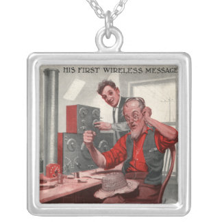 First Wireless Message Square Pendant Necklace