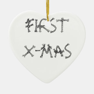 FIRST X-MAS Double-Sided HEART CERAMIC CHRISTMAS ORNAMENT