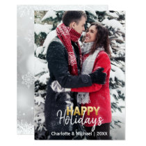 First Xmas Happy Holidays Married Engaged | PHOTO Invitation