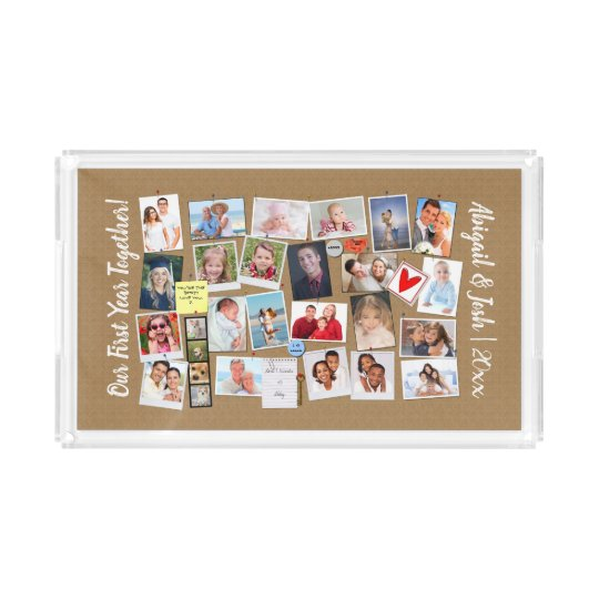 First Year Together Photo Memories Faux Cork Board Acrylic Tray