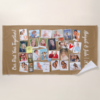 First Year Together Photo Memories Faux Cork Board Beach Towel