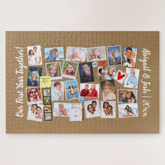 First Year Together Photo Memories Faux Cork Board Jigsaw Puzzle
