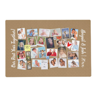 First Year Together Photo Memories Faux Cork Board Placemat