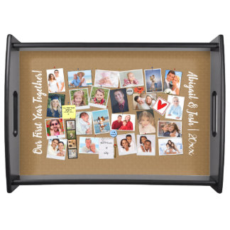 First Year Together Photo Memories Faux Cork Board Serving Tray