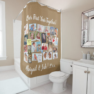 First Year Together Photo Memories Faux Cork Board Shower Curtain