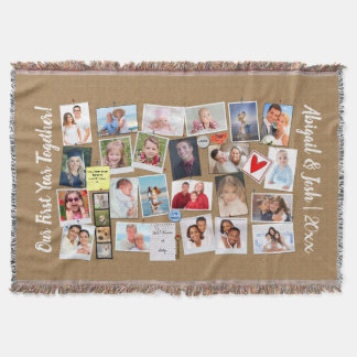 First Year Together Photo Memories Faux Cork Board Throw