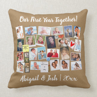 First Year Together Photo Memories Faux Cork Board Throw Pillow