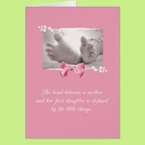 Firstborn Girl Congratulations Baby Feet Pink Bow Card