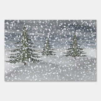 firtree and snow sign