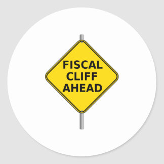 Fiscal Cliff Ahead Sign Classic Round Sticker