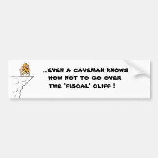 Fiscal Cliff Caveman Bumper Sticker