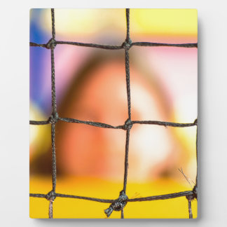 Fischer net with woman in the background plaque