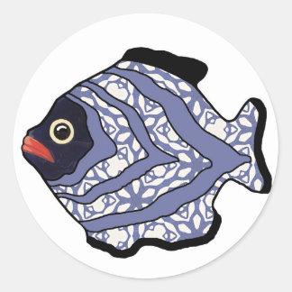Fish-019 tropical pegatinas redondas