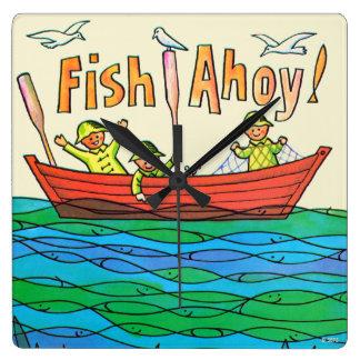 Fish Ahoy! Square Wall Clock
