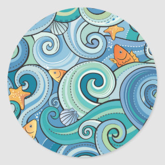 Fish Among The Waves Pattern Classic Round Sticker