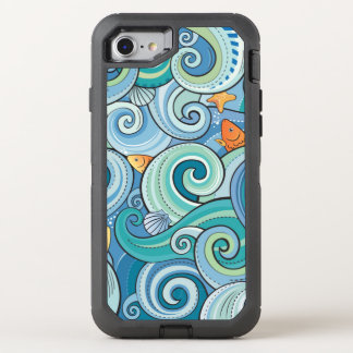 Fish Among The Waves Pattern OtterBox Defender iPhone 7 Case