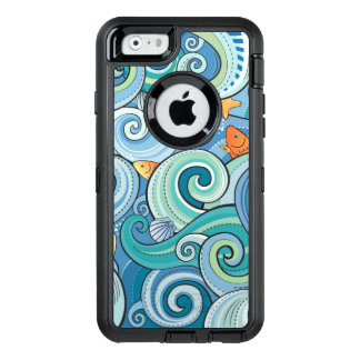 Fish Among The Waves Pattern OtterBox Defender iPhone Case