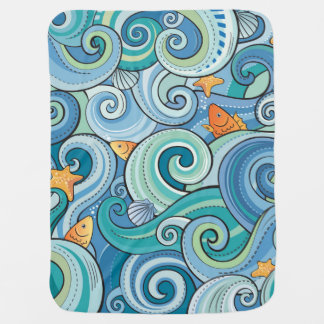 Fish Among The Waves Pattern Stroller Blanket