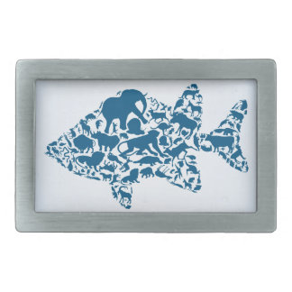 Fish an animal rectangular belt buckle