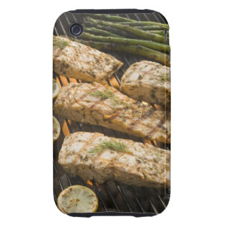 Fish and asparagus cooking on grill iPhone 3 tough cover