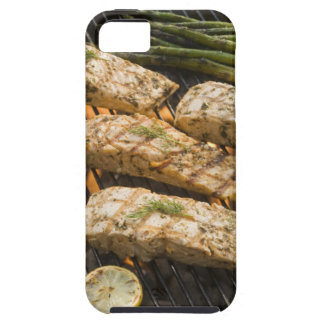 Fish and asparagus cooking on grill iPhone 5 cases