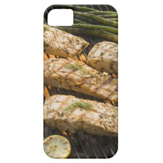 Fish and asparagus cooking on grill iPhone 5 cover