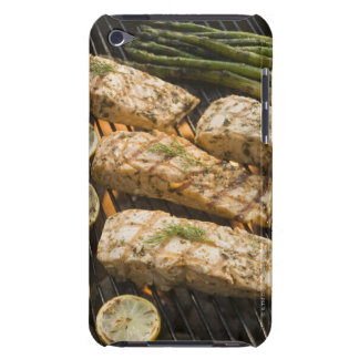 Fish and asparagus cooking on grill iPod Case-Mate case