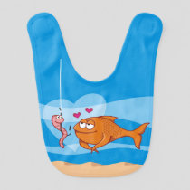 Fish and Bait in Love Baby Bib