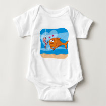 Fish and Bait in Love Baby Bodysuit