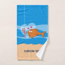 Fish and Bait in Love Bath Towel Set