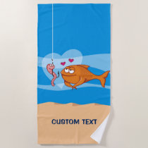 Fish and Bait in Love Beach Towel