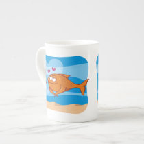 Fish and Bait in Love Bone China Mug